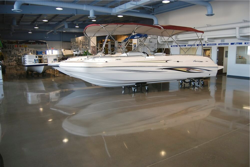 polished concrete boat showroom sydney