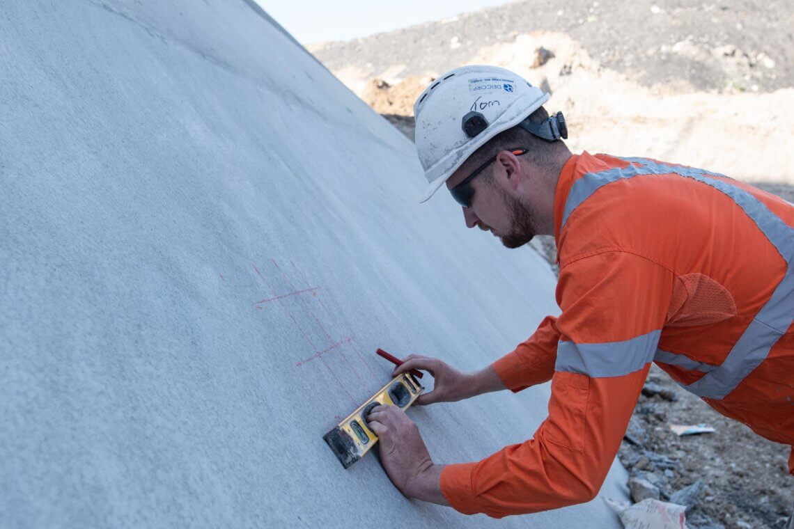 Concrete Services Along the Shotcreted Wall