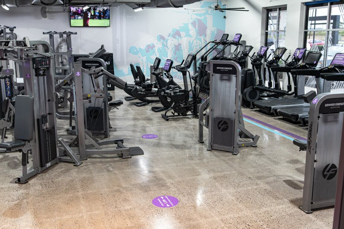 grind and polish concrete in anytime fitness