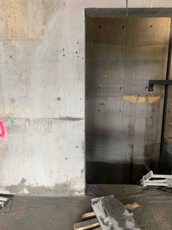Wall sawing works at One Hurstville Plaza