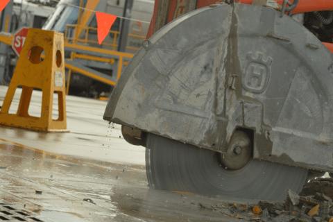 Road sawing in Auburn, Sydney Trains Depot